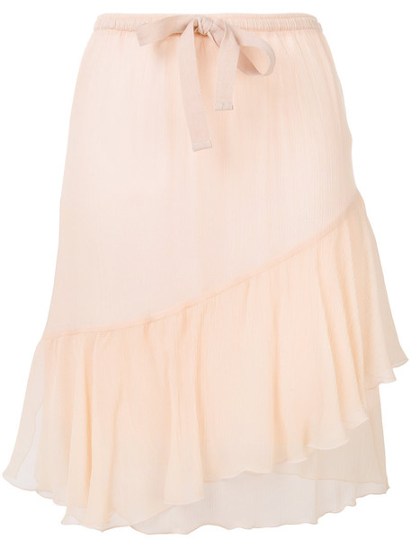 skirt women cotton silk purple pink