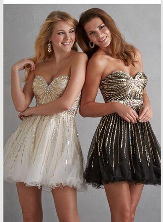 gold gold sequins black black dress balck and white dress white dress white sequin dress sparkly dress sparkle homecoming dress prom dress high heels glitter fancy dress