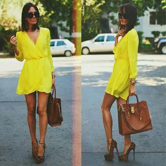 dress yellow dress long sleeve yellow dress v neck dress sexy dress simple dress