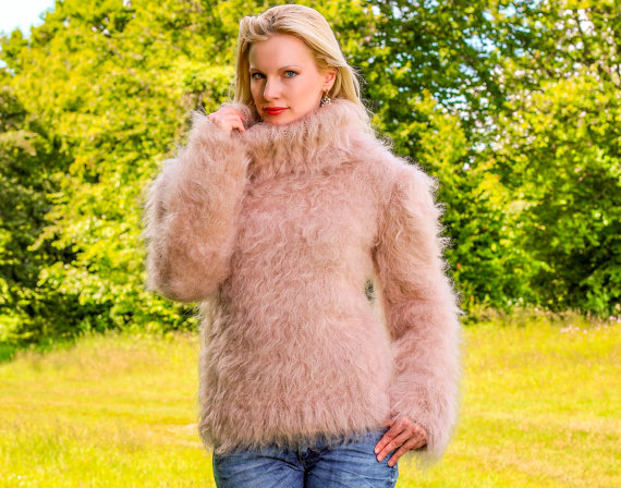 Hand knitted mohair sweater in light beige by by supertanya