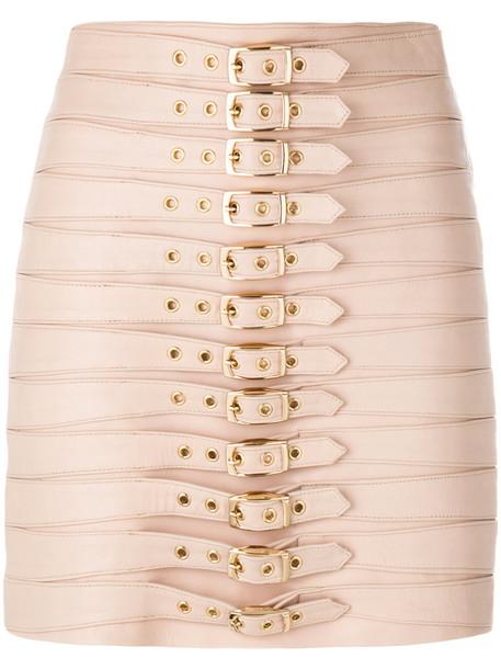 Manokhi - multi buckle skirt - women - Leather/Viscose/Polyester - 38, Pink/Purple, Leather/Viscose/Polyester