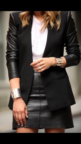 jacket black leather blazer minimalist skirt