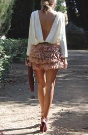 flower skirt,skirt,pink,shirt,white,classy,fluffy,nude skirt,mini skirt,white blouse,open back