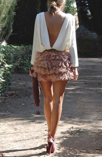 flower skirt skirt pink shirt white classy fluffy nude skirt mini skirt white blouse open back