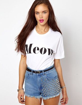 t-shirt white meow cats kitty adorable