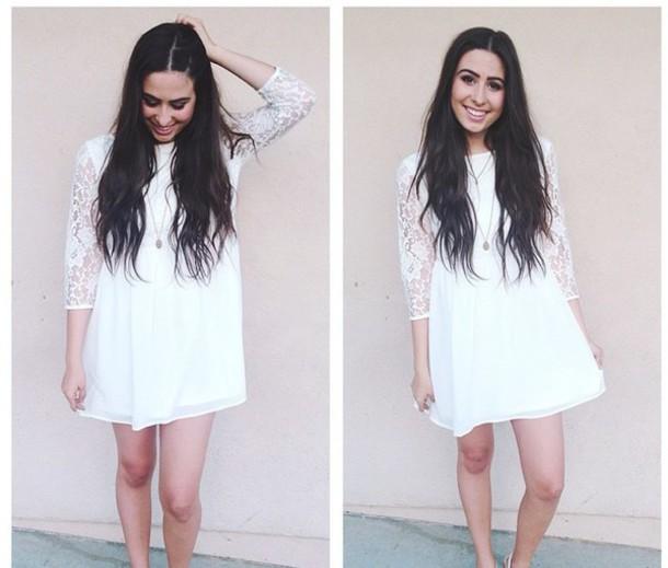 b5b9b6d8ffc dress white lace sleeves elegant smart flowy short forever 21