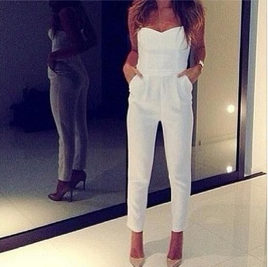 Women sexy v neck strapless tight waist bodycon jumpsuits white