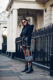 fashion vibe,blogger,skirt,shirt,shoes,bag,jacket,sunglasses,blouse,ruffle,louis vuitton bag,leather skirt,ankle boots,spring outfits,patent skirt,ruffle sleeves,clutch,mini skirt,faux leather skirt,zipped skirt,blogger style,louis vuitton