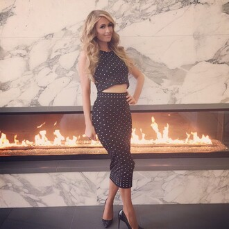 skirt midi skirt paris hilton top crop tops polka dots pencil skirt two-piece instagram