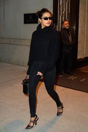 shoes,sweater,black,all black everything,priyanka chopra,celebrity,pants,fall outfits