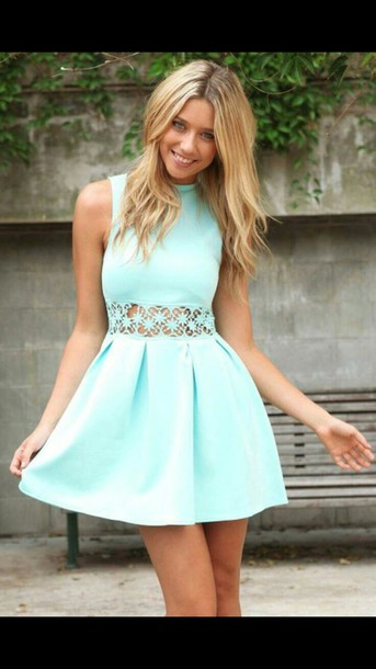 dress turquoise dress turquoise lace cutout flower cutout