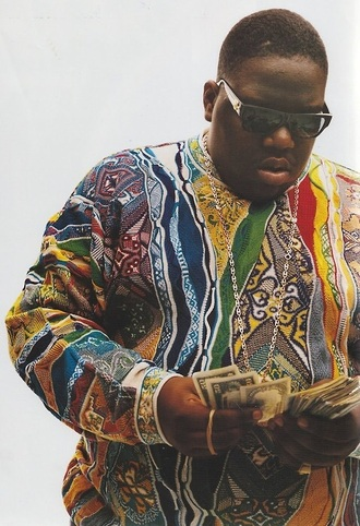 sweater money menswear designer swag style dollars shades biggie notorious big multicolour chain rich forever hustle hustling gangster bad boy fashion biggie smalls