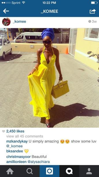 dress maxi dress yellow dress