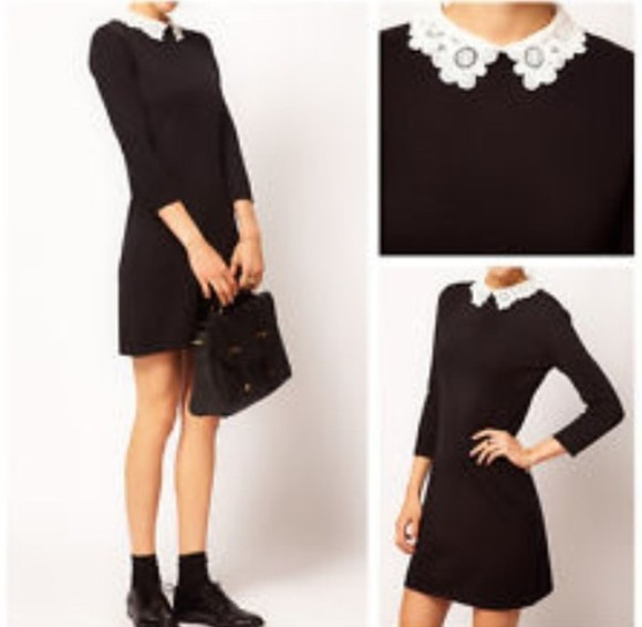 white collar dress black peter pan collar collar little black dress cute white short dress pearls long sleeves black shoes black bag bag purse black purse fashion cute dress cute black dress