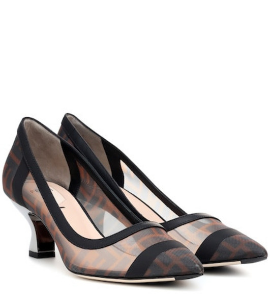 Fendi Leather-trimmed pumps in brown