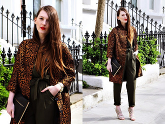 magdarling blogger coat leopard print high waisted pants