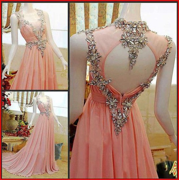 evening dress formal dresses party dress homecoming dresses prom dress elegant wedding dress pink dress open back prom dress rhinestone crystal beaded dress