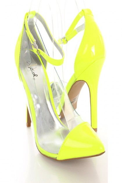 Yellow Clear Ankle Strap Heels @ Amiclubwear Heel Shoes online ...