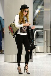shoes,pumps,bella thorne,sunglasses,top,jeans,backpack,bag,mini backpack