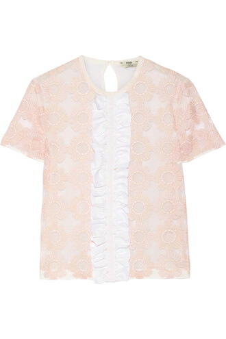 top chiffon embroidered silk pastel pink pastel pink