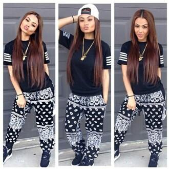 pants bandana print joggers bandana pants black jeans shrirt stripes swag style hip hop urban skirt shirt