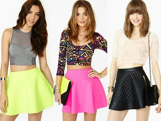 skirt neon skirt aztec crop top