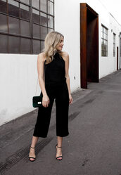 blondecollective,blogger,top,shoes,bag,make-up,cropped pants,shoulder bag,green bag,sandals,high heel sandals