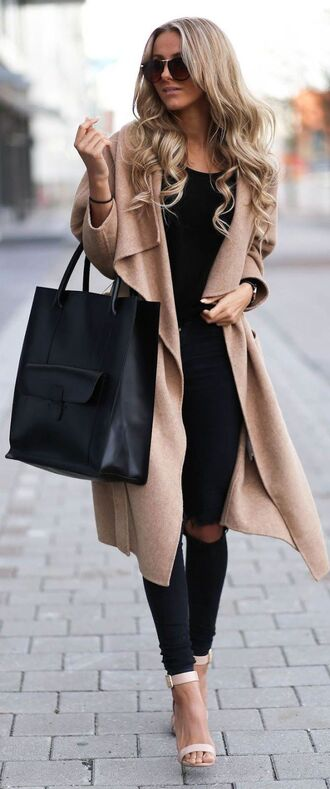 coat camel beige wool coat draped collar open front michael kors trench coat trendy glamourous nude heels sandals bag