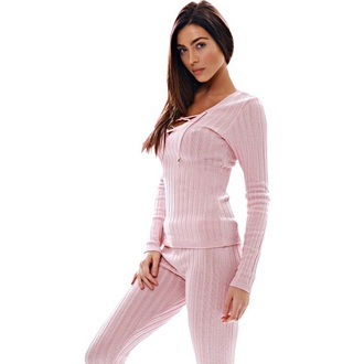 jumpsuit two-piece pink girly sportswear light pink sporty long sleeves trendy casual comfy knitwear sweatshirt pajamas
