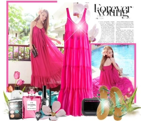 dress maxi dress pink pink dress summer dress summer sandals spring outfits spring summer