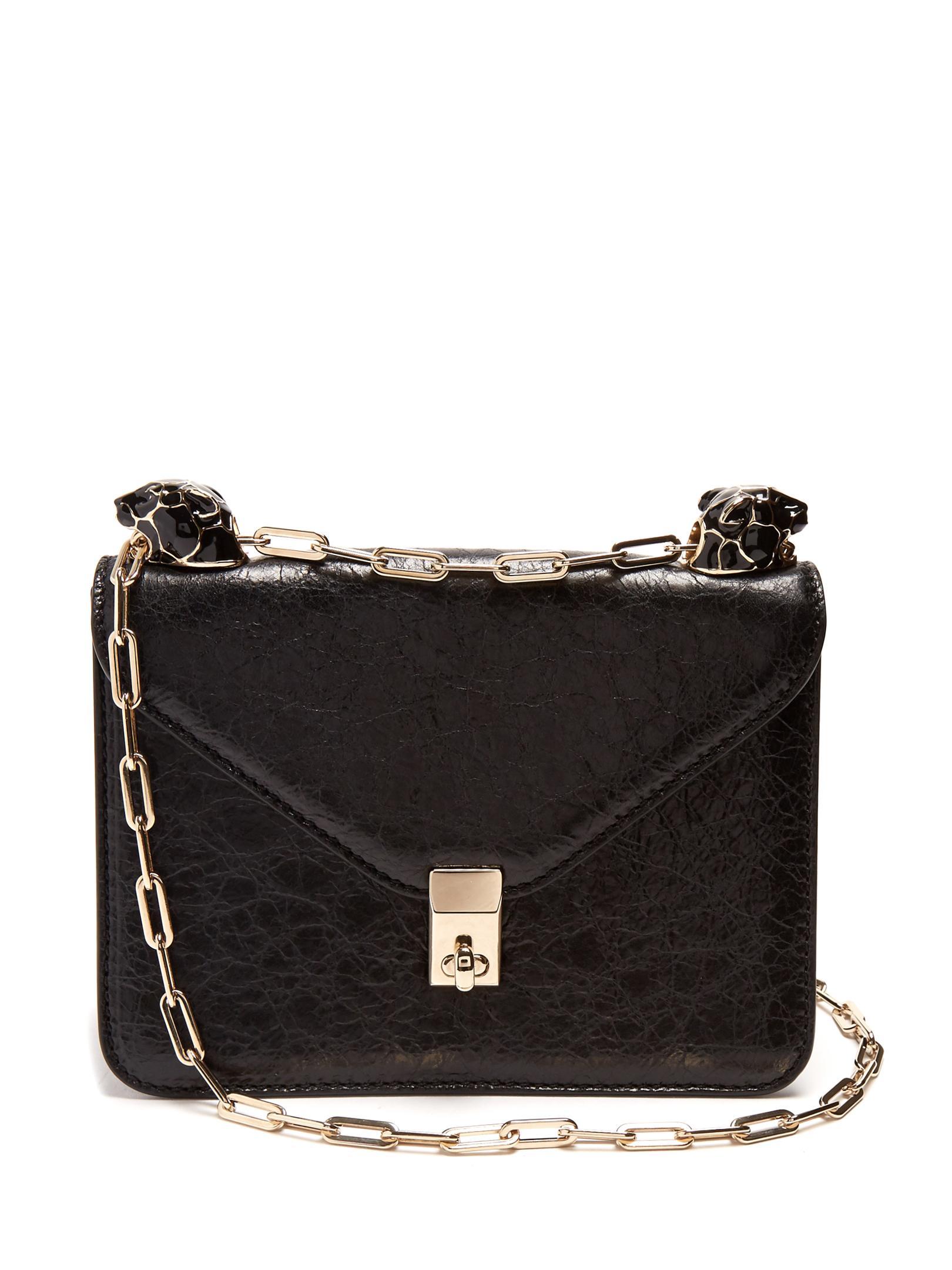 3d3c057b Valentino | Black Panther-embellished Small Leather Shoulder Bag | Lyst