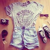 shirt,t-shirt,converse,shorts,cute,outfit,sunglasses,camera,denim shorts,black shoes,skirt,grey shirt cotton,blouse,clothes,top,graphic tee,shoes,belt,nail accessories,tank top,vintage,grey t-shirt,pants