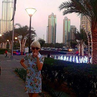 dress summer dress polo shirt polo dress floral flowers fusion womenswear cute dubai blonde hair sunglasses