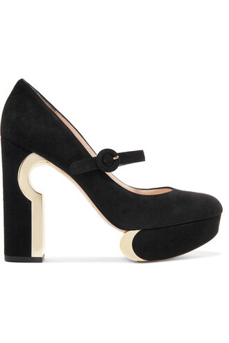 metallic pumps platform pumps suede black shoes