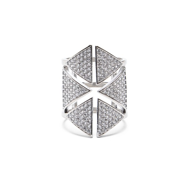 Sole Society Cutout Crystal Statement Ring  - Crystal-7