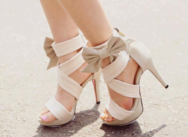 shoes tan bows high heels nude high heels nude bow bow high heels tan heels  tan