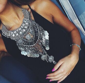 jewels silver necklace ive been wanting this for a long time jewelry statement piece collar accessories collier accessoire bijoux coin necklace big necklace