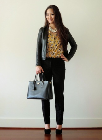sensible stylista blogger black jacket office outfits floral shirt jewels pants jacket bag top shoes