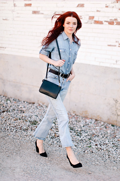 sea of shoes blogger denim shirt jeans