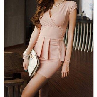 dress pink nude nude dress pink dress short sleevve short sleeve short sleeve dress peplum peplum dress rose wholesale
