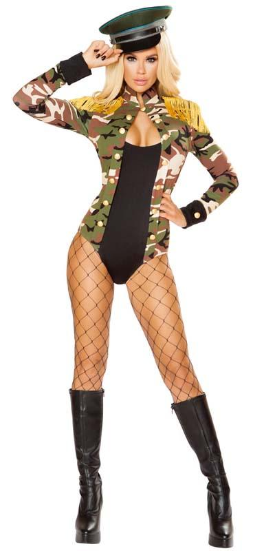 Sexy Army Officer Military Long Sleeve Romper with Button and Fringe Detail