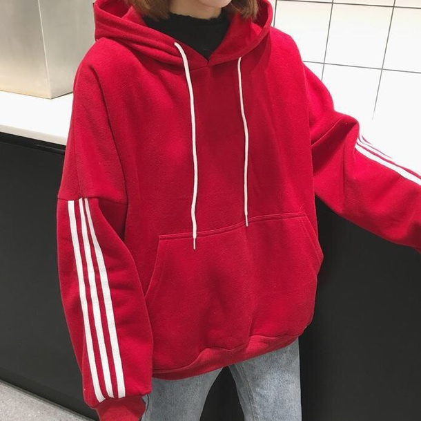 Jacket: girly, red, white, stripes, hoodie, oversized sweater ...
