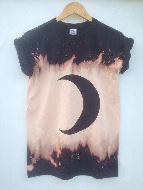 shirt crescent moon grunge shirt dark grunge shirt bleached tshirt moon phases moon print