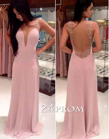 A-line round neckline Chiffon Long Prom Dresses, Formal Dress - 24prom
