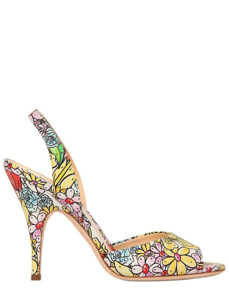 Moschino sandals leather sandals floral leather multicolor shoes