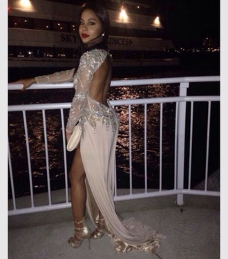 dress backless prom beaded champagne long dress formal gown long sleeve dress