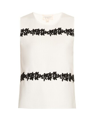 top sleeveless knit embroidered white black