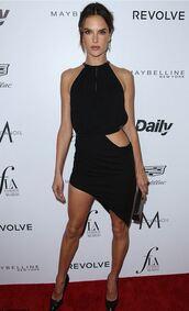 asymmetrical dress,asymmetrical,alessandra ambrosio,black dress,little black dress,sexy