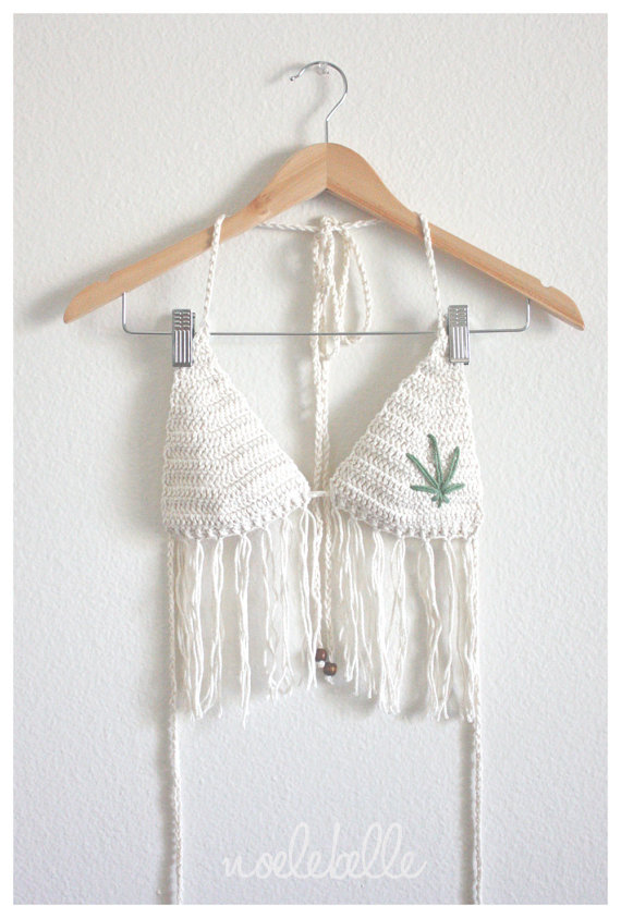 Crochet hemp leaf top with fringe