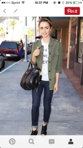 jacket,army green jacket,lily collins